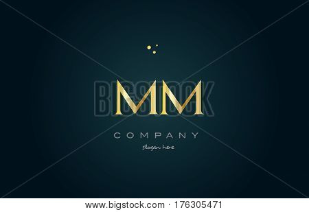 Mm M M  Gold Golden Luxury Alphabet Letter Logo Icon Template