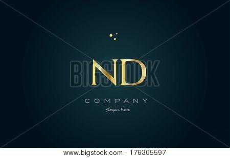 Nd N D  Gold Golden Luxury Alphabet Letter Logo Icon Template
