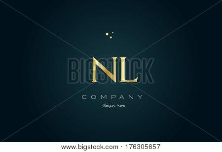 Nl N L  Gold Golden Luxury Alphabet Letter Logo Icon Template