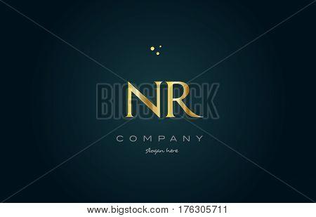 Nr N R  Gold Golden Luxury Alphabet Letter Logo Icon Template