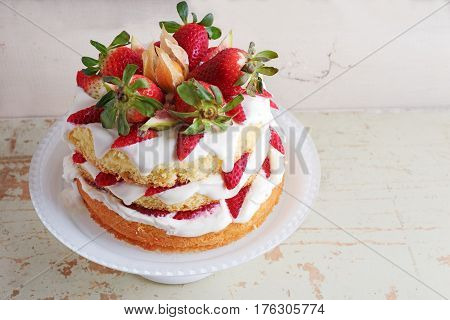 Homemade Cream Layer Cake, Fresh, Colorful, And Delicious Dessert With Juicy Strawberries, Sweet Whi