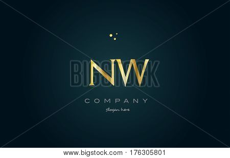 Nw N W  Gold Golden Luxury Alphabet Letter Logo Icon Template