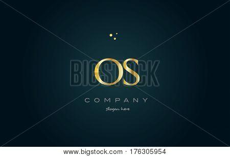 Os O S  Gold Golden Luxury Alphabet Letter Logo Icon Template