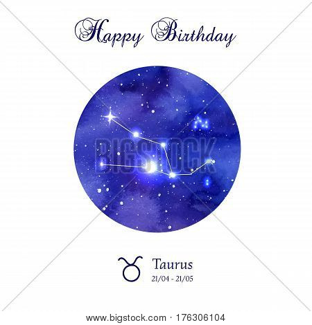 Happy birthday greeting card. Zodiac constellation. Taurus. The Bull. Vector illustration