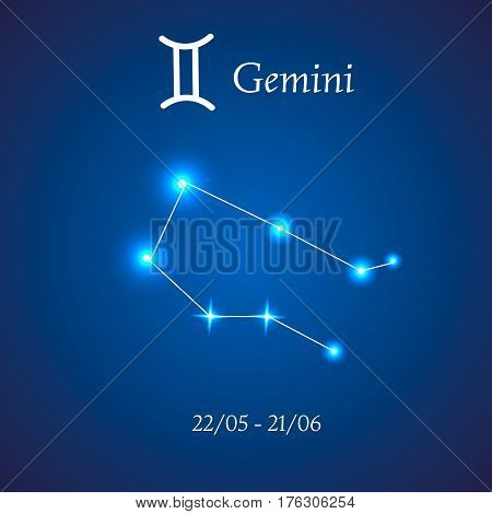 Zodiac constellation. Gemini. The Twins Vector illustration