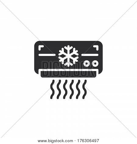 Air Conditioner icon vector filled flat sign solid pictogram isolated on white. AC unit symbol logo illustration
