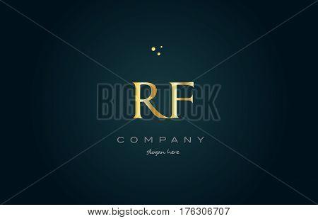 Rf R F  Gold Golden Luxury Alphabet Letter Logo Icon Template