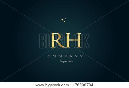Rh R H  Gold Golden Luxury Alphabet Letter Logo Icon Template