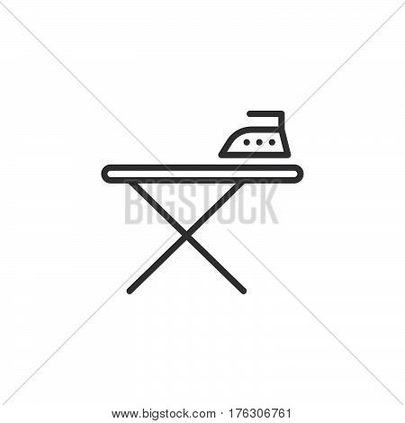 Ironing board and iron line icon outline vector sign linear pictogram isolated on white. Symbol logo illustration