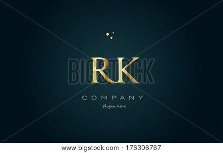 Rk R K  Gold Golden Luxury Alphabet Letter Logo Icon Template