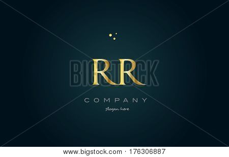 Rr R  Gold Golden Luxury Alphabet Letter Logo Icon Template