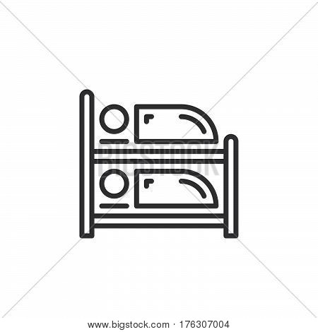 Bunk bed line icon outline vector sign linear pictogram isolated on white. Symbol logo illustration