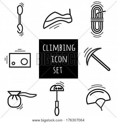 Sports thin line icon set for web and mobile. Climbing equipment flat design.