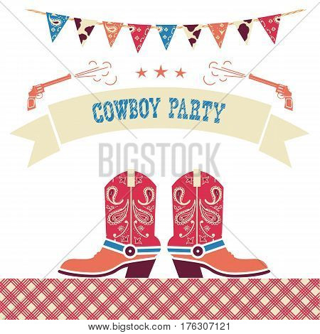 Cowboy Party Western Card.vector Symbols With Cowboy Shoes