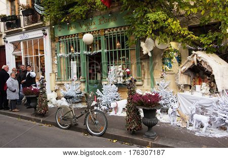 Paris, France-September 27, 2016 : The old traditional French cafe Au vieux Paris d'Arcole located in a touristy area, near Notre Dame cathedral, on Cite island.