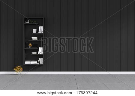 3d rendering : room Minimalist interior light and shadow with black book shelf at front of balck shiny wooden wall and concrete floor. minimalism style wall in background. decorate interior