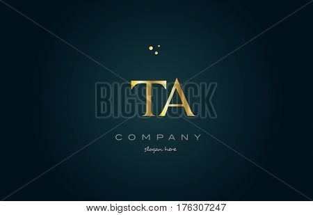 Ta T A  Gold Golden Luxury Alphabet Letter Logo Icon Template