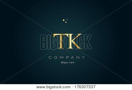 Tk T K  Gold Golden Luxury Alphabet Letter Logo Icon Template