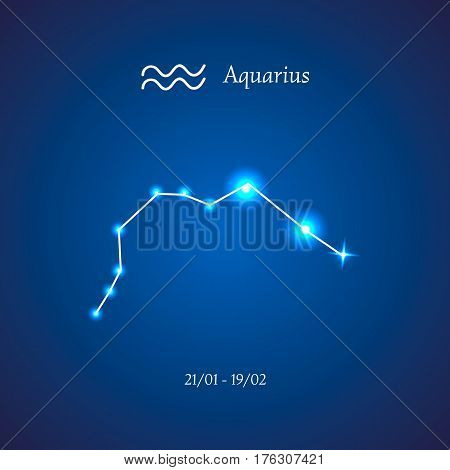 Zodiac constellation. Aquarius. The Water-bearer Vector illustration