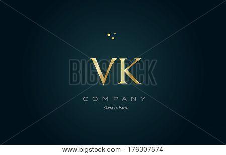 Vk V K  Gold Golden Luxury Alphabet Letter Logo Icon Template