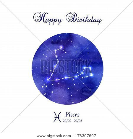 Happy birthday greeting card. Zodiac constellation. Pisces. The Fish. Vector illustration