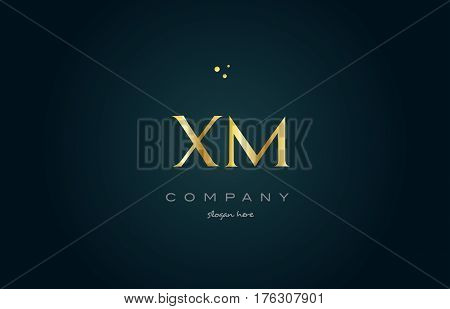 Xm X M  Gold Golden Luxury Alphabet Letter Logo Icon Template
