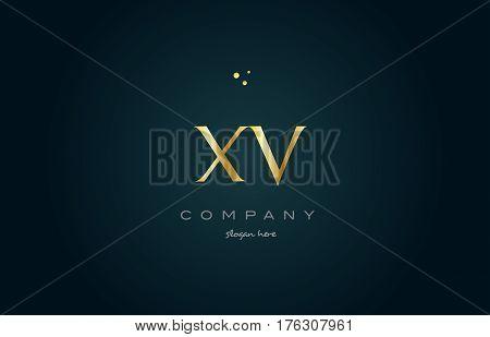 Xv X V  Gold Golden Luxury Alphabet Letter Logo Icon Template