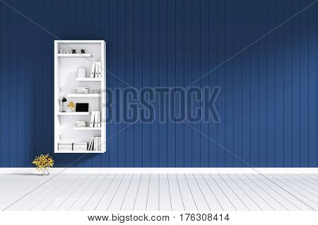 3d rendering : room Minimalist interior light and shadow with white book shelf at front of blue color shiny wooden tile wall with white floor. minimalism style wall in background. decorate interior