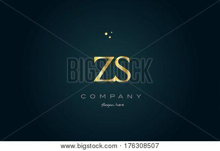 Zs Z S  Gold Golden Luxury Alphabet Letter Logo Icon Template