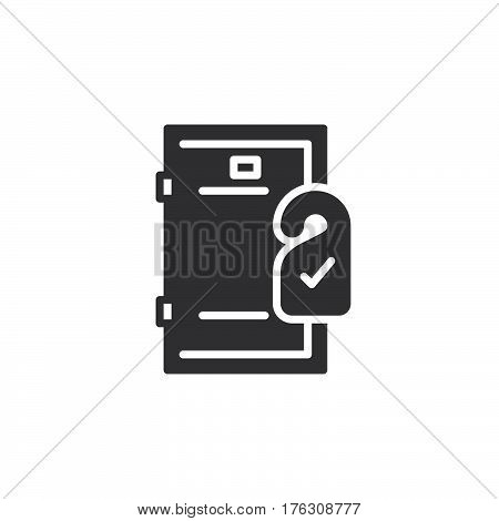Door hanger icon vector filled flat sign solid pictogram isolated on white. Room service symbol logo illustration