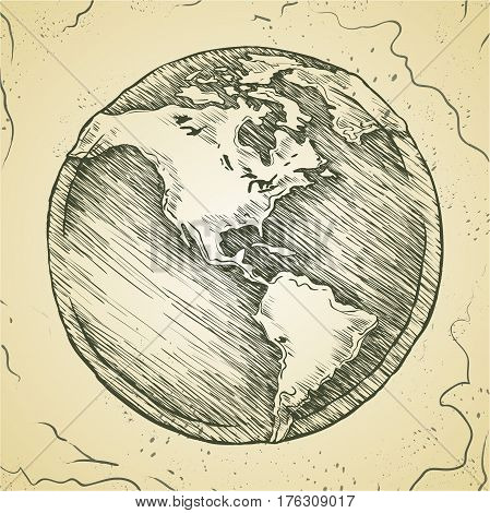 Hand drawing line icon. Globe outline drawing. Vector doodle sketch. Figure stylized antique map image.