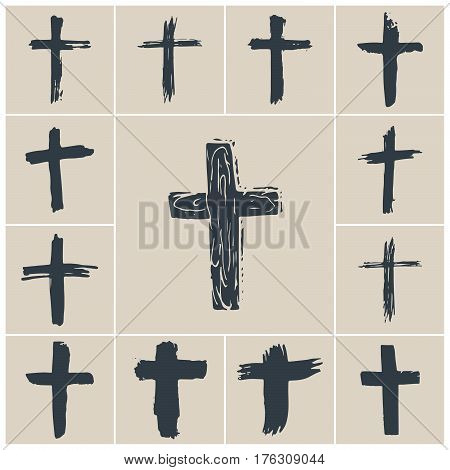 Grunge hand drawn cross symbols set. Christian crosses religious signs icons crucifix symbol vector illustration