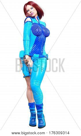 Young beautiful woman warrior from future. Protective blue armor leather jumpsuit. Pistol in hand. Girl standing candid provocative aggressive pose. Photorealistic 3D rendering isolate illustration.