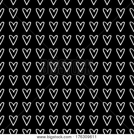 Abstract monochrome pattern with hand drawn hearts. Cute vector monochrome pattern. Seamless lovely monochrome pattern for fabric, wallpapers, wrapping paper, cards and web backgrounds.