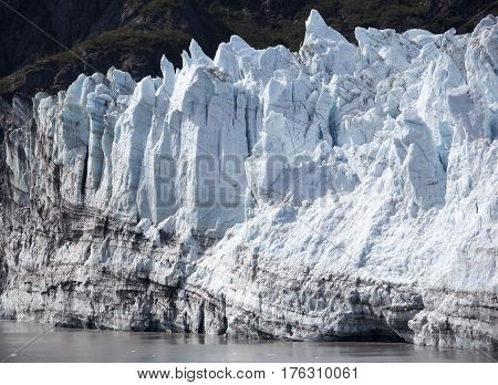 The scenic view of a part of the glacier in Glacier Bay national park (Alaska).