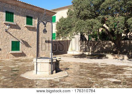 Monastery Santuari De Cura Water Well On Puig De Randa, Majorca, Spain