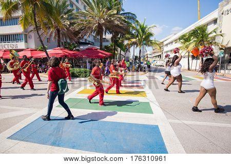 USA, FLORIDA. MIAMI BEACH. NOVEMBER 11, 2016. Veteran's Day Parade on famous Ocean Drive in South Beach, Miami.