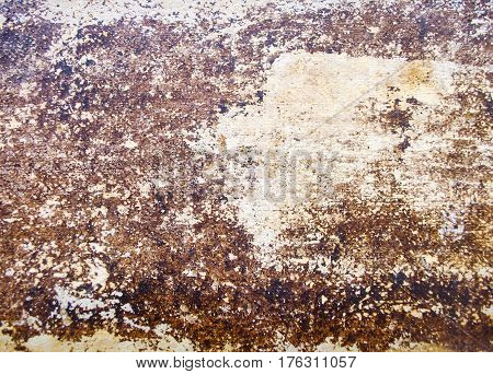 Brown textured background. The paint on the wall is like a scaled snake