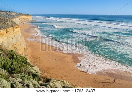 Twelve Apostles beach and rocks in Australia, Victoria, beautiful landscape of Great ocean road coastline
