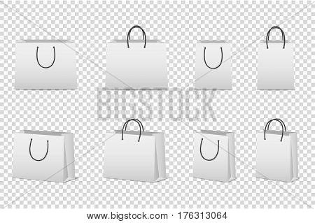Vector blank white paper bag set isolated. Design template for mockup. EPS10 illustration.