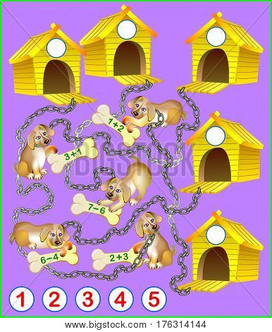 Logical math exercises for kids. Need to solve examples, find a house for every puppy and write the numbers in relevant circles. Vector cartoon image.