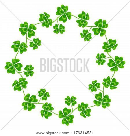 Four-leaf clovers vector round frame isolated on white background