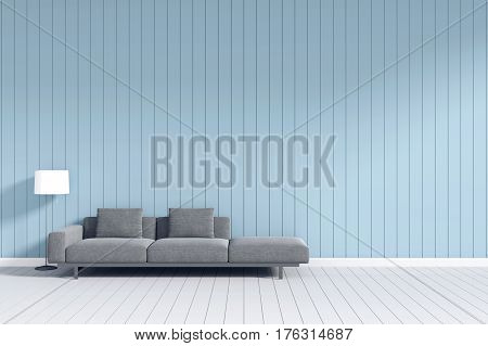 3d rendering : room Minimalist interior light and shadow with Gray fabric long sofa at front of wooden blue pastel wall and white floor. minimalism style wall background