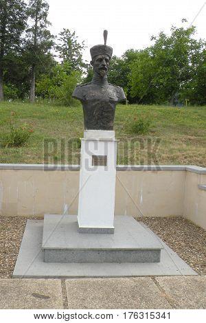 Statue of an hero in Marasesti, memorial from the WWI. In Moldavia, Romania
