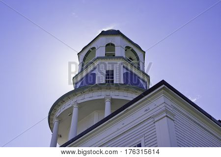 Halifax, Nova Scotia, September 23, 2015 --  Perspective view from below of the historic Clock tower on Citadel Hill in Halifax, Nova Scotia on a bright sunny day in September