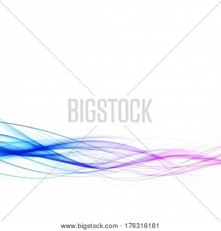 Blue to pink dynamic abstract swoosh lines abstract web border layout template. Vector illustration