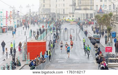 BRIGHTON GREAT BRITAIN - FEB 26 2017: Group of runners from above in the Vitality Brighton half marathon competition. February 26 2017 in Brighton Great Britain