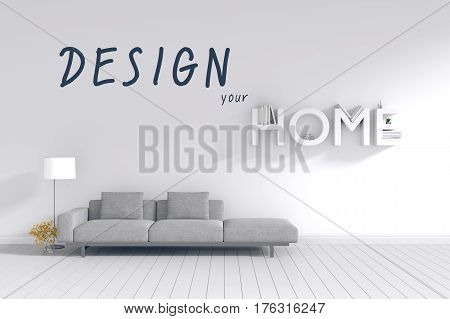 3d rendering : room Minimalist interior light and shadow with Gray fabric long sofa at front of white wall and white floor. minimalism style wall background. design your HOME concept