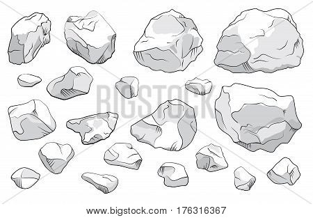 Large and small stones on white background. Vector illustration