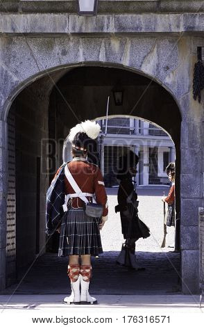 Halifax, Nova Scotia, September 23, 2015 -- Highlander Guards perform the changing of the guard at the Citadel in Halifax, Nova Scotia on a bright sunny day in September